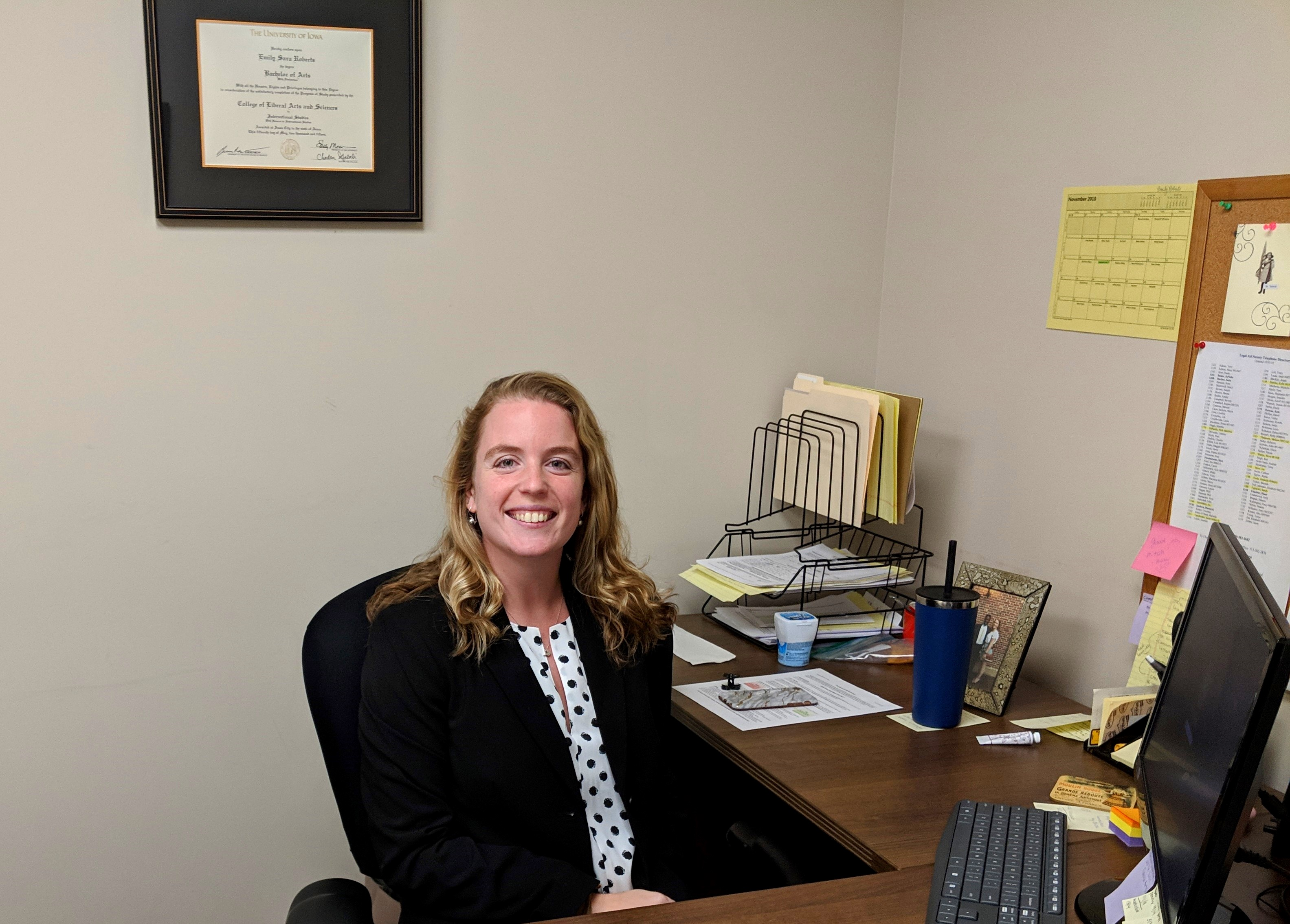 Emily Roberts provides legal assistance to clients facing domestic violence and housing insecurity