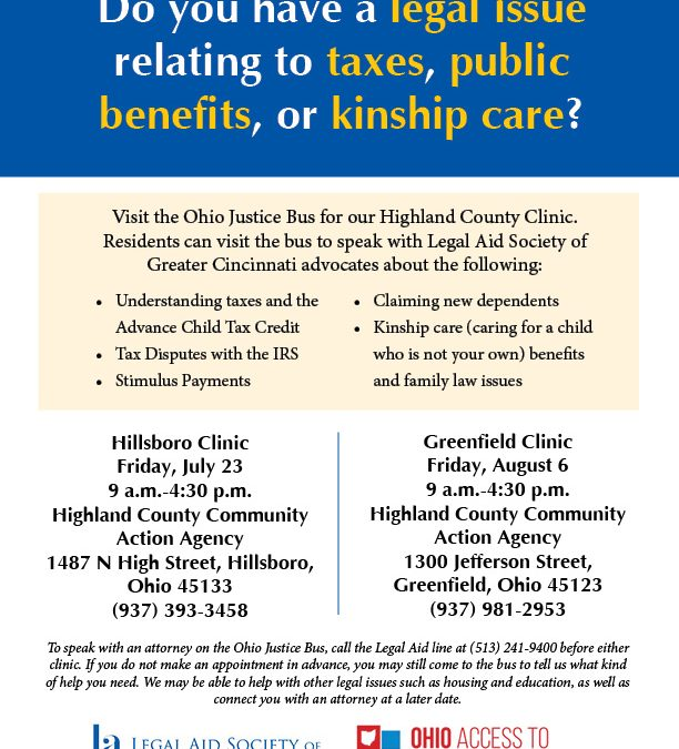 Get Your Legal Questions Answered at Ohio Justice Bus Highland County Clinics