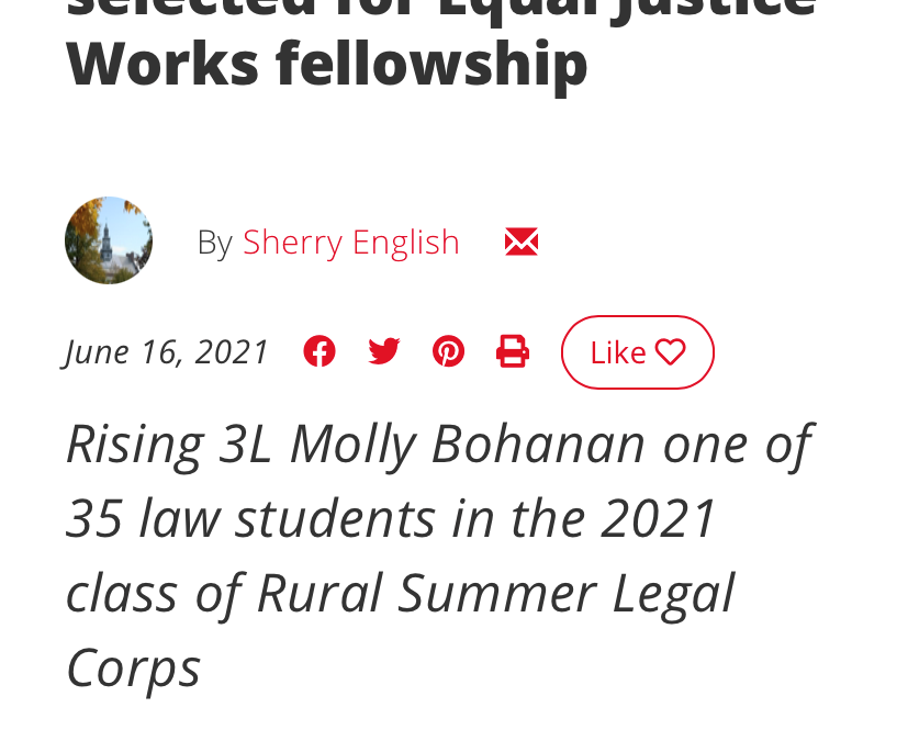 Equal Justice Works Rural Summer Legal Fellow Molly Bohanan on Working With Legal Aid